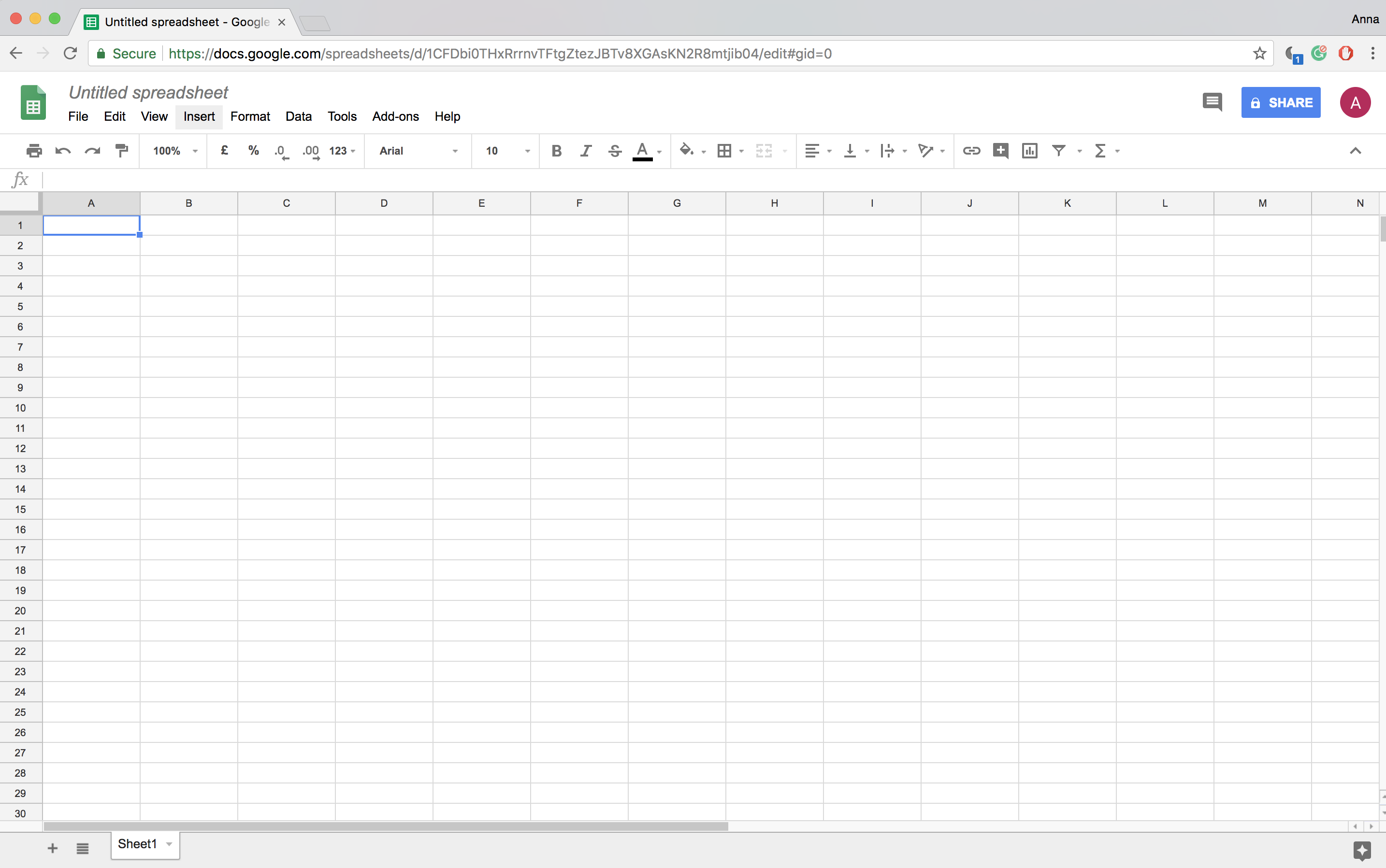 Google Sheets Screen Capture