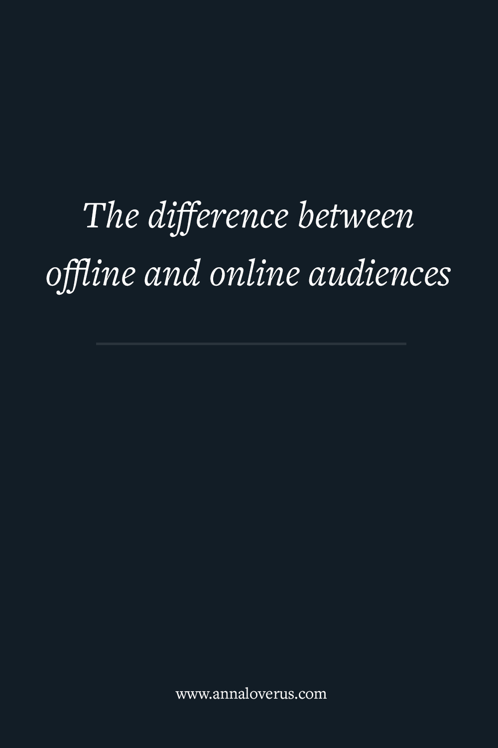 Most people working with marketing audiences today build an online audience like they used to build audiences for the offline world. But audiences don't translate very well between the two contexts.
